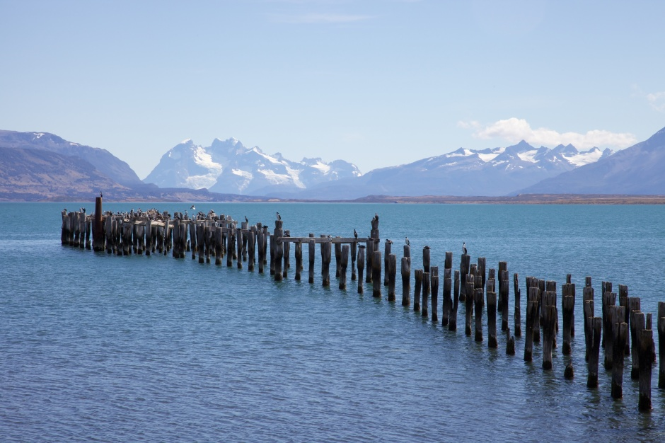 View towards Torres del Paine National Park from Puerto Natales