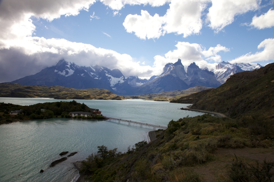 View of the main peaks of Torres del Paine, and the original park hotel