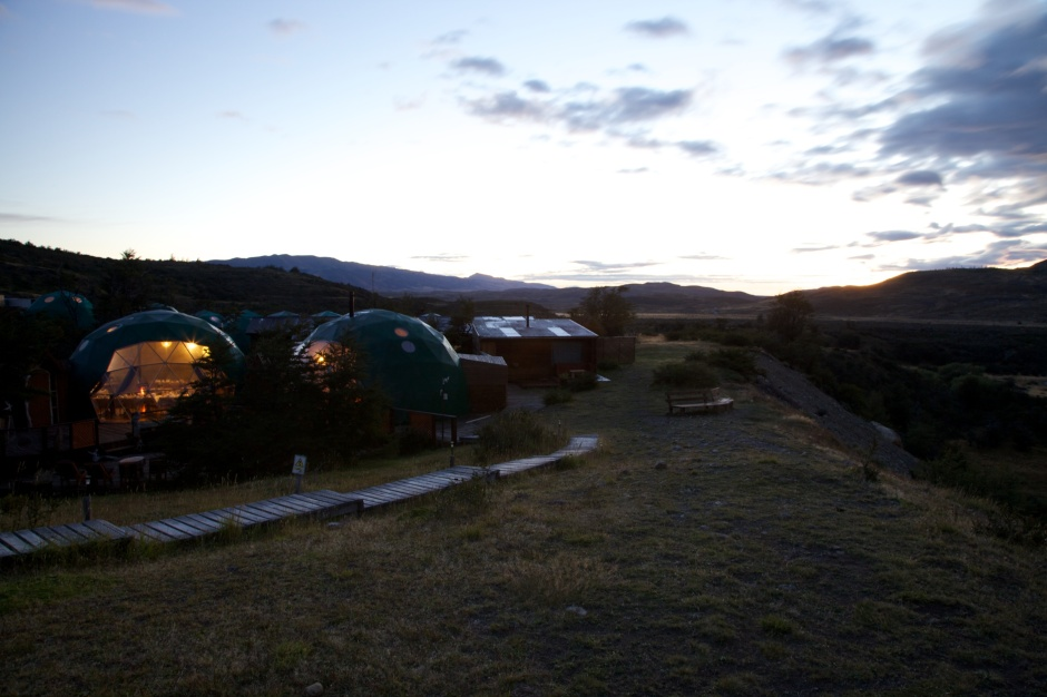 The domes of the Ecocamp at dawn
