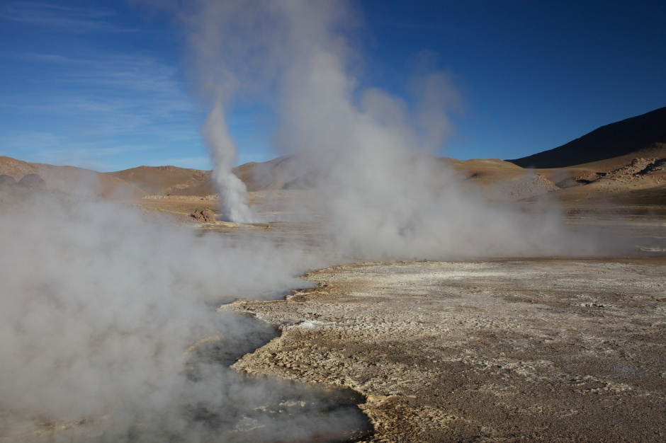 Geyser steam rises skyward