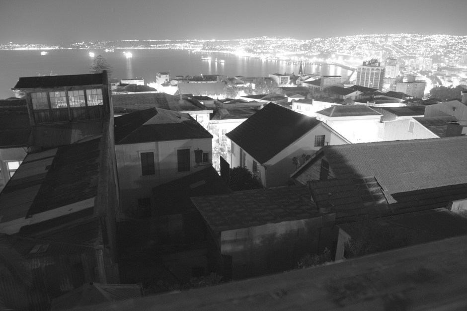 Valparaiso at night, with Vina del Mar in the distance