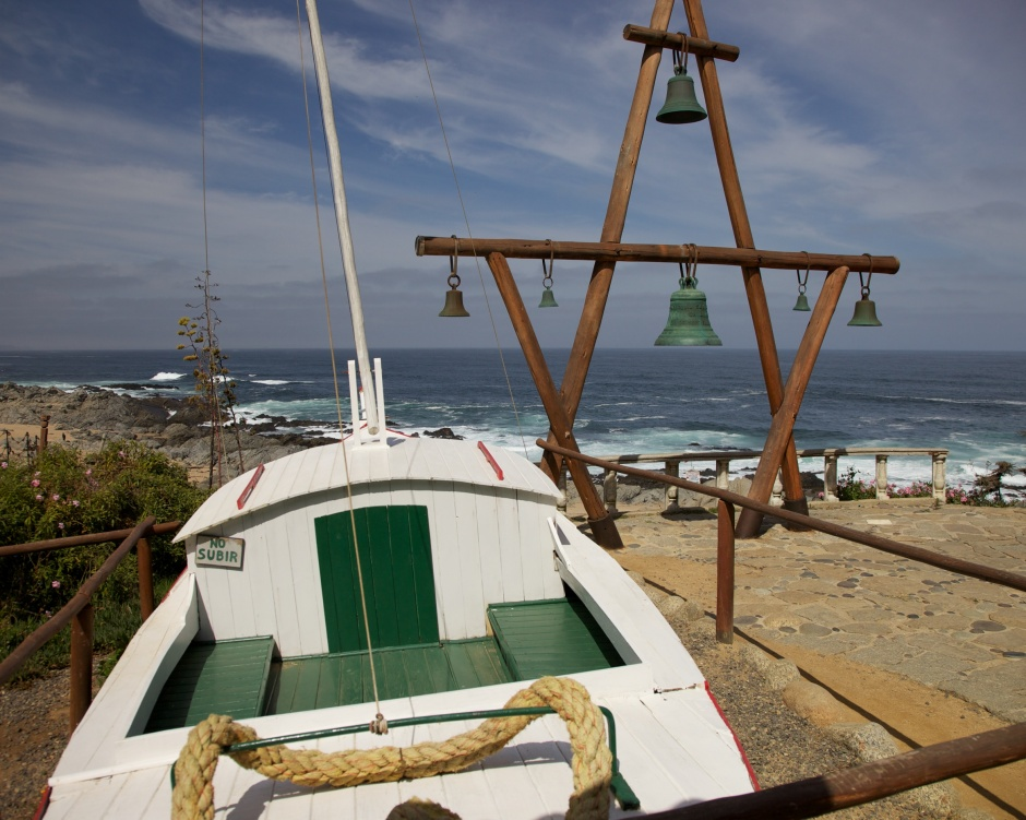 Bell tower at Isla Negra overlooking the sea, with the boat which never sailed