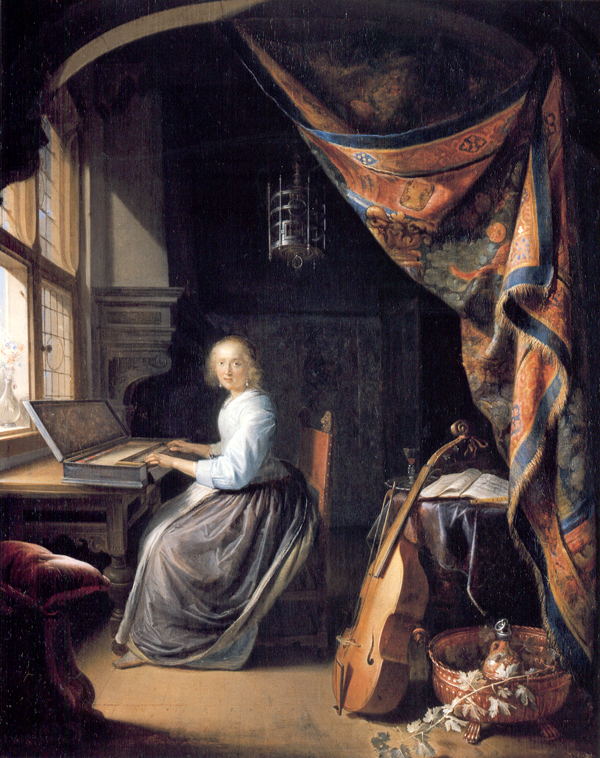 Gerrit Dou (1613-75), A Woman playing a Clavichord, about 1665