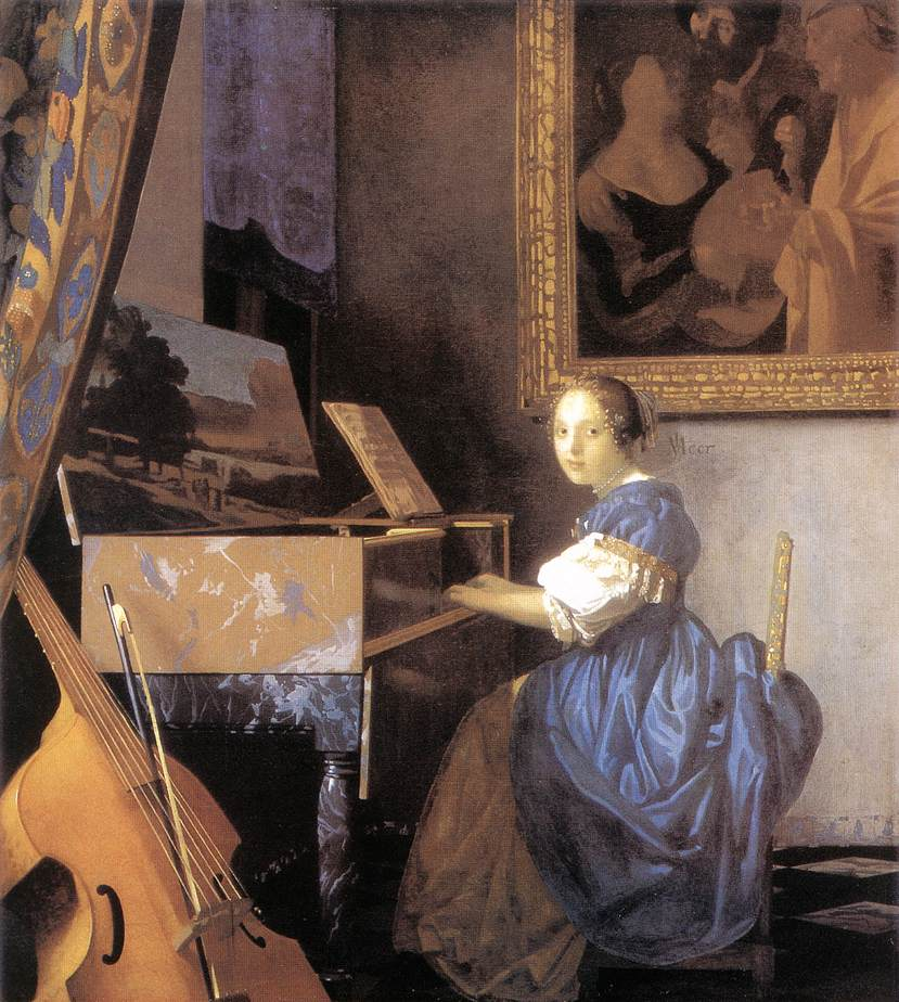 Johannes Vermeer (1632-75), A Young Woman seated at a Virginal, about 1670-72