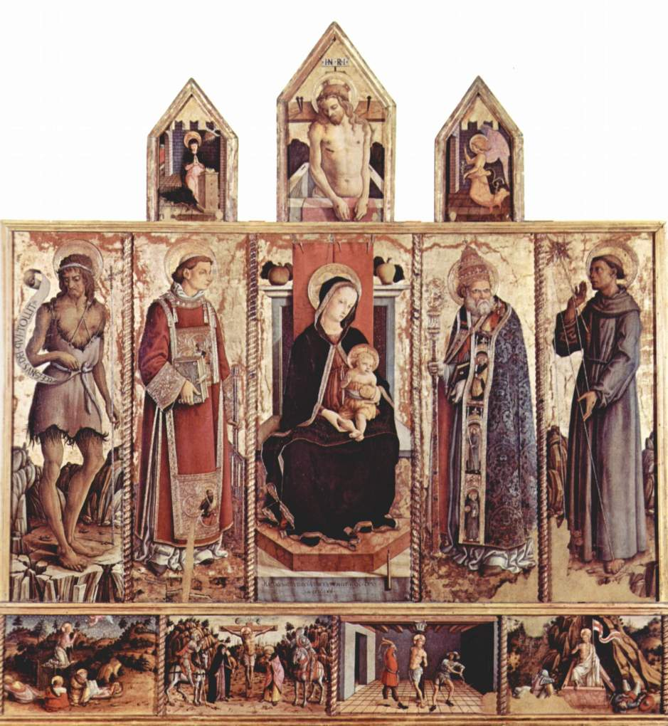 Carlo Crivelli, Madonna enthroned with the Child Jesus and Sts Francis, Sebastian, Laurence and John the Baptist, Church of San Lorenzo, Massa Fermana