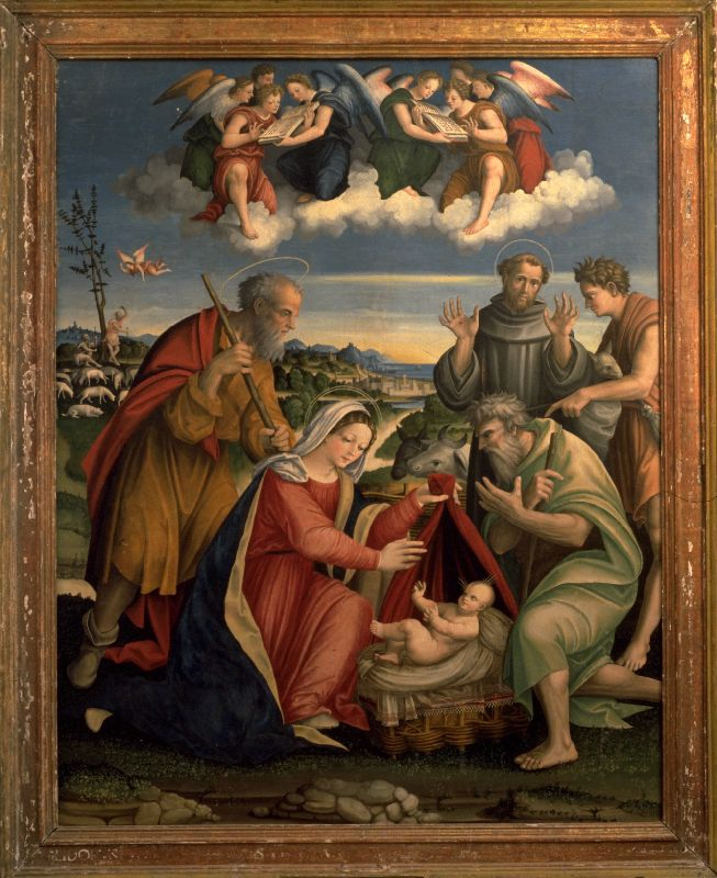 Vincenco Pagani (1490-1567), Adoration of the Shepherds with St Francis of Assisi