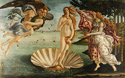 The Birth of Venus (c.1468) by Sandro Botticelli. This painting from the early Renaissance clearly draws on the classical form of a Venus Pudica but differs in key respects. Whilst classical nudes were highly naturalistic, Botticelli is inspired by classical forms but remains highly influenced by medieval/gothic forms. His Venus essentially floats on the canvas in a pose that whilst highly attractive is so unbalanced that it would be physically impossible.