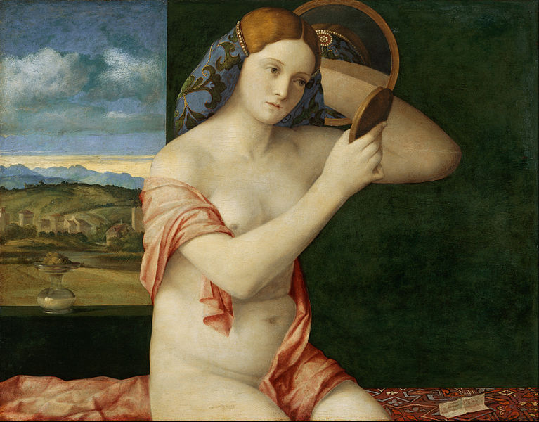 Lady at Her Toilet (1515( by Giovanni Bellini. This female nude represents the opening salvo in a period of Venetian domination of the form. Her ample form and roundness were to become typical of Venetian art.