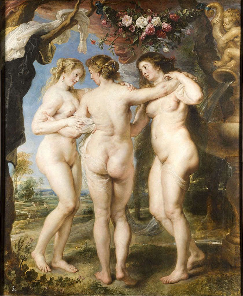 "Three Graces (1639) by Peter Paul Rubens. This pose dates back to the classical period but Ruben perhaps delivers the ultimate version of the picture. To quote Clark again ""the older hair and swelling bosoms of his Graces are hymns of thanksgiving for abundance, and they are placed before us with the same unself-conscious piety as the sheaves of corn ... that decorate a village church at harvest festival"".His nudes are innocent even when entirely conscious of their charms."