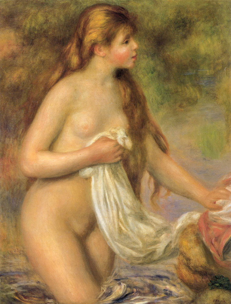 Bather with Long Hair by Renoir (c1895)