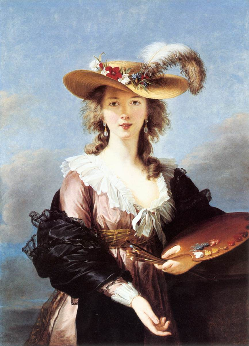 Self-Portrait in a Straw Hat by Elisabeth-Louise Vigee-Lebrun (after 1782)