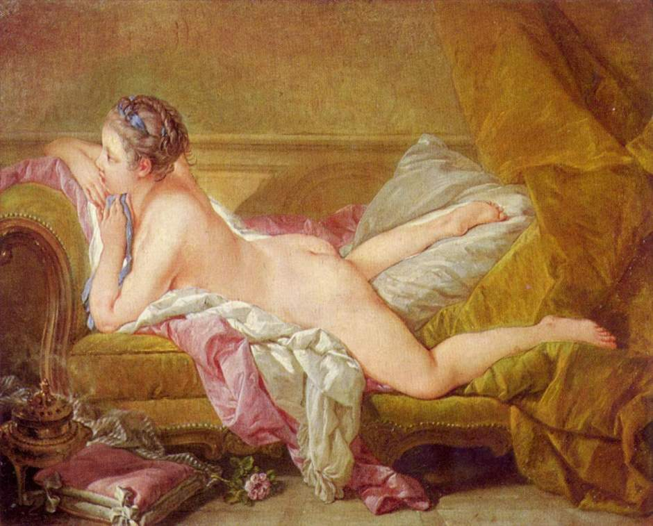 Louise O'Murphy by Francois Boucher, c.1752. O'Murphy was the daughter of an Irish officer in French service and became one of that younger mistresses of Louis XV. She was apparently introduced to the King after Casanova had a nude portrait of her painted and shown to the King. This picture was painted later but was apparently similar.