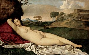 "The Sleeping Venus (c.1510) by Giorgione. To quote Kenneth Clark ""The Venus of Giorgioni is sleeping, without a thought for her nakedness ... but her outline forbids us to identify her as a Venus Naturalis. Compared to Titian's Venus of Urbino, who seems, at first, to closely resemble her, she is like a bud, wrapped in her sheath, each petal folded so firmly as to give us the feeling of inflexible purpose"". This is perhaps the last celestial Venus."