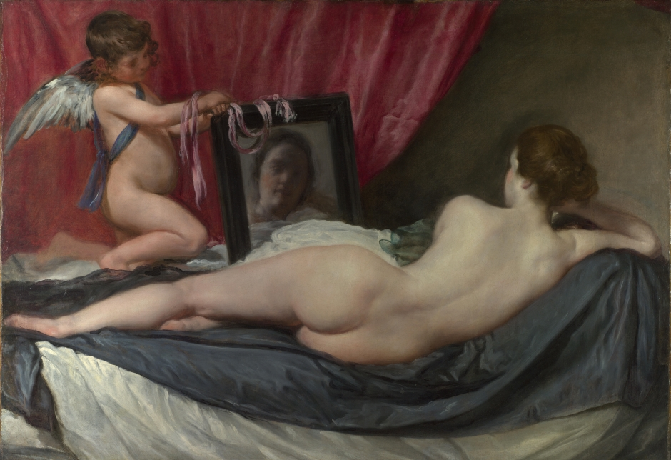 The Toilet of Venus (1647-51) by Diego Velazquez, often referred to as the Rokesby Venus from the English house at which it was long on display. This is an extraordinary picture for two reasons., Firstly it was the only female nude Velazquez painted at a time when the prescriptions of the Catholic Church in spain made such a painting highly controversial. Secondly, it essentially events a brand new style of female nude, which has of course been replicated many times since.