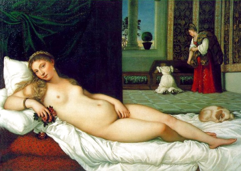 The Venus of Urbino (1538) by Titan. Less than 30 years separate this painting from the similar one by Giorgioni. But what a change. Venus has worked up. She is self-aware, looking directly at the viewer. We have entered the world of the knowing Venus Naturalis.