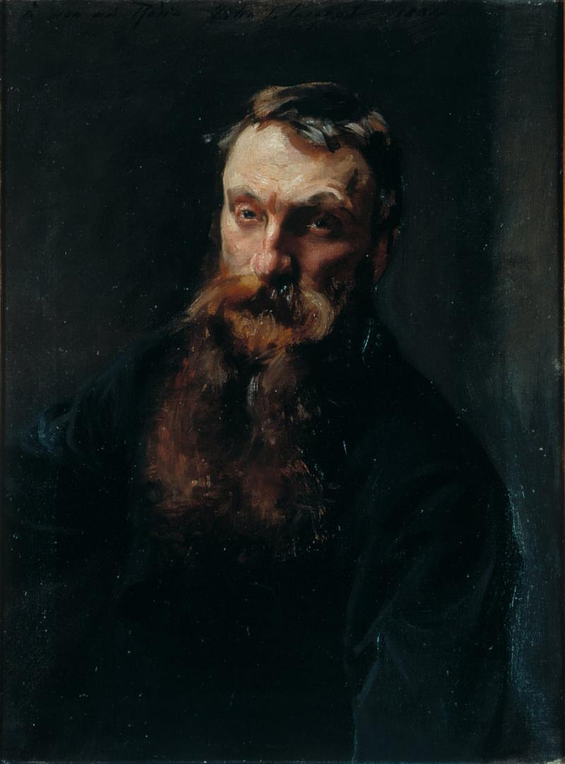 Auguste Rodin (1884) This picture was painted relatively soon after they first met in the early 1880s. The respect in which the subject is held is obvious. He is painted as a dark almost biblical figure with brooding eyes which are just beginning to blur with age. Nothing else in the picture is allowed to distract from a face which edges from the deep.