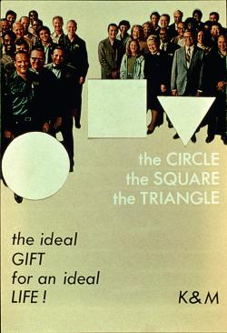 "Circle, Square, Triangle, Komar and Melamid, 1975 This poster and supporting installation was one of the most appealing things in the exhibition. Subverting geometric abstraction we are assured that ""substantiated ideal concepts of pure and clear reason are simple white figures - a circle, a square, a triangle - figures that are from now on destined to become part of your life""."