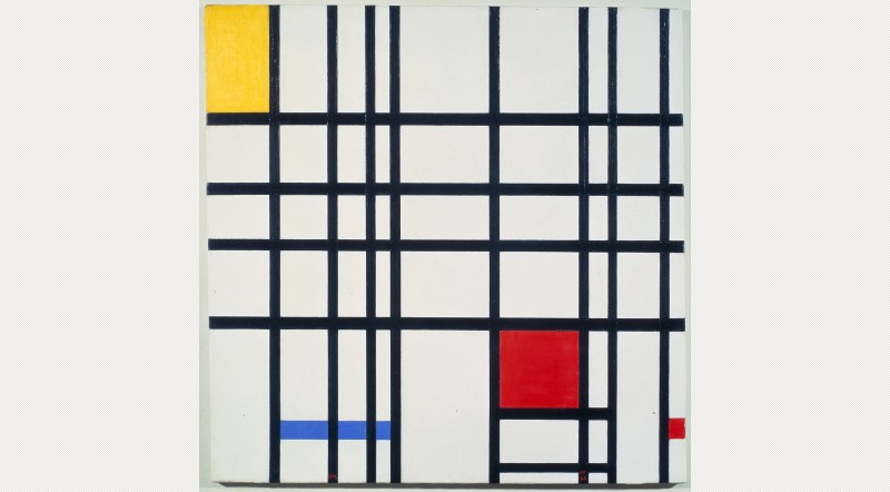 Piet Mondrian, Composition with Yellow, Blue and Red (1937-42) Mondrian was a founding member of the De Stijl group in the Netherland who believed in using Geometric Abstraction to support the synthesis of engineering, art and architecture. Mondrian created rectilinear planes of primary colours which could operate two or three dimensions to create paintings, furniture etc.