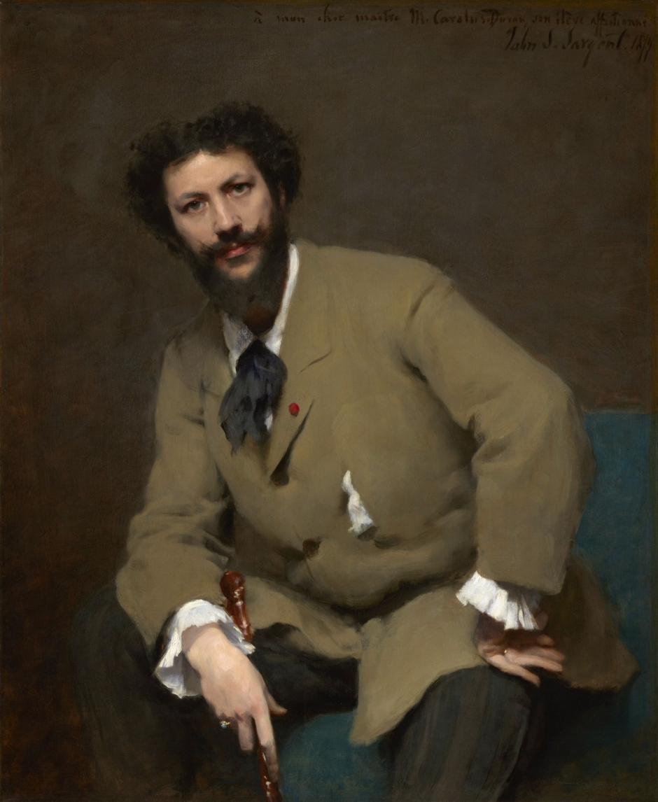 Portrait of Carolus-Duran (1879) This portrait of Sargent's teacher and early mentor was submitted to the Paris Salon in 1879, received an honourable mention and launched his career. Carolus-Duran was a radical teacher who encouraged his students to draw and paint directly to canvas in the manner of Velazquez. It is an approach which clearly suited Sargent well.
