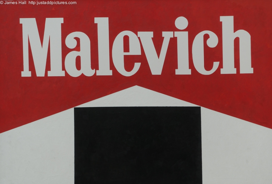 Malevich, Black Square, Alexander Kosolapov, 1987 Of course, the founding father of Geometric Abstraction could not avoid his own subversion in the creation of Sots Art. He appears several times in the exhibition. This was the most arresting.