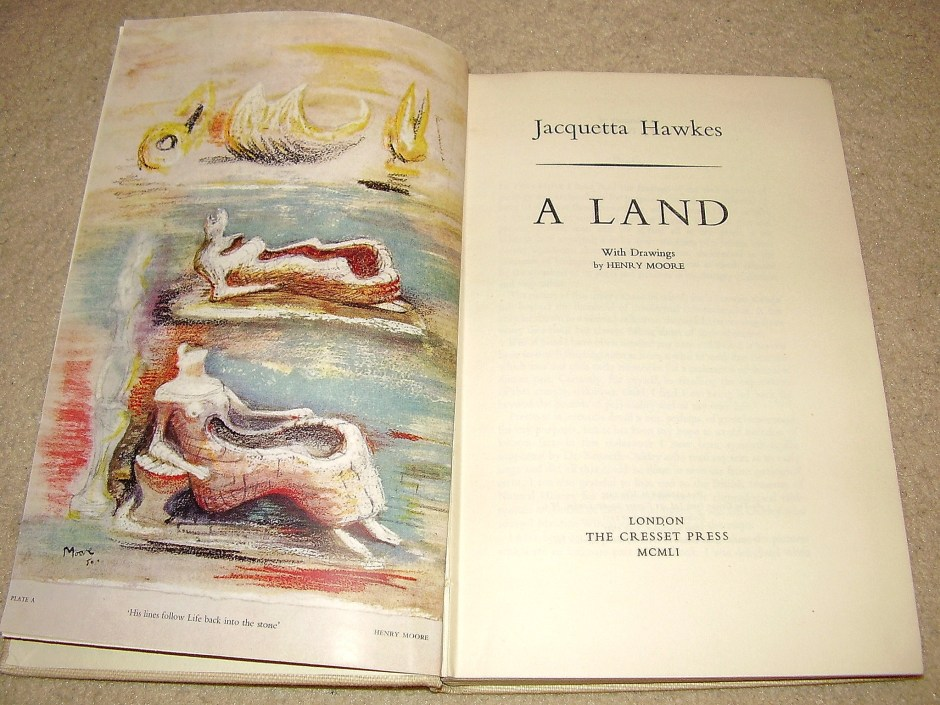 "The title of the exhibition is taken from this book, A Land by Jacquetta Hawkes, which Moore illustrated when it was published in 1951. The book has been describes as a ""deep-time dream of 4bn years of Earth-history, whose 'purposes' are to demonstrate that we are all 'creatures of the land', substantially produced by the terrain on which we live, and to advance a synthetic cosmogony of consciousness, culture and geology"". The deep link between people and landscape mirrors some of Moore's own pre-occupations."