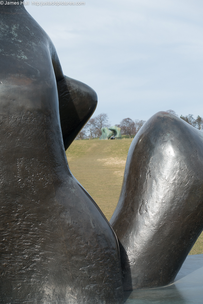 Close up of Reclining Figure: Arch Leg showing the wonderful bronze patina which Moore created
