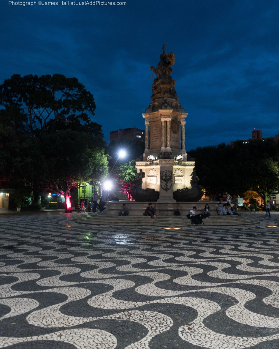 The central square of Manaus. The patterns formed by the tiles covering the square represent the meeting of the rivers to form the Amazon which happens here.