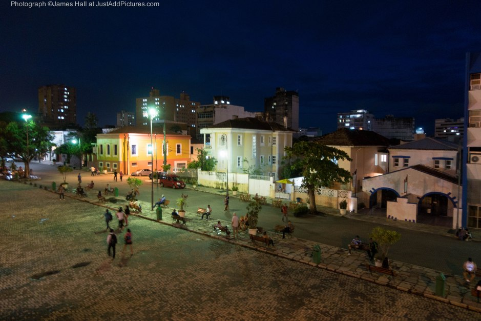 Night time street scene in the centre of Manaus