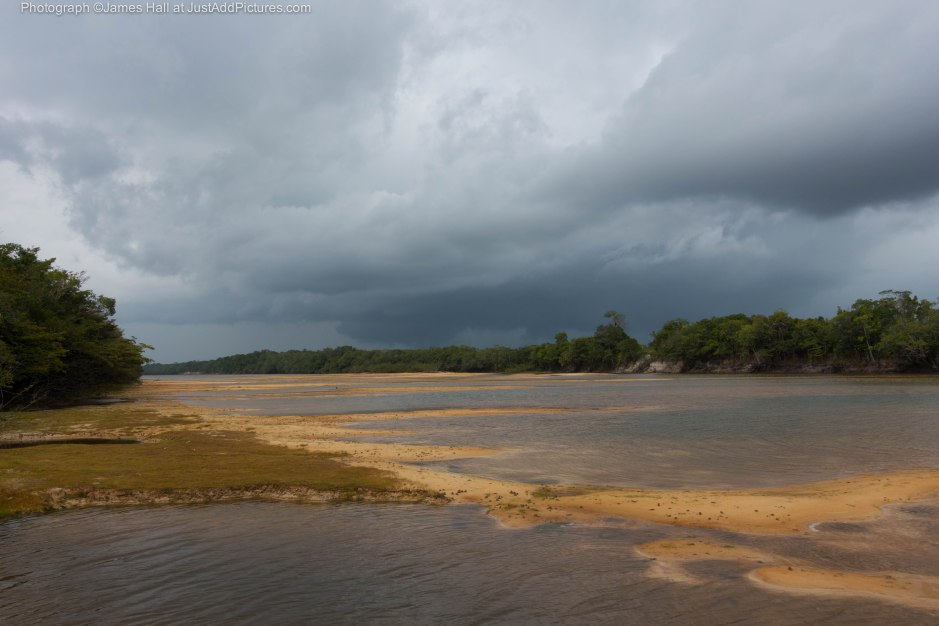 Before the storm. A view of the Agua Boa river showing how low it was with sand backs into the distance. Within a couple of minutes of taking this photograph we were completely drenched.