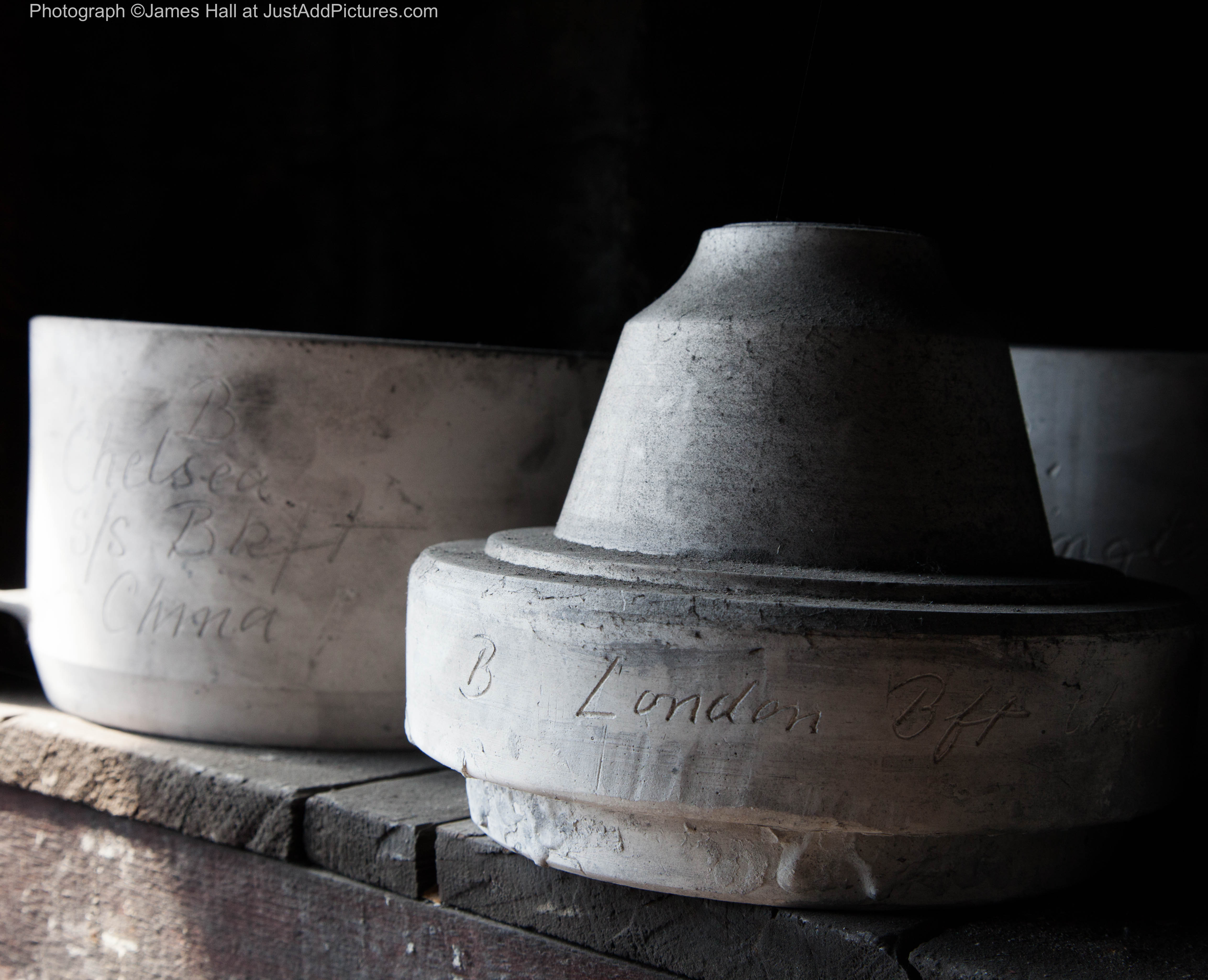 A close up of pottery moulds