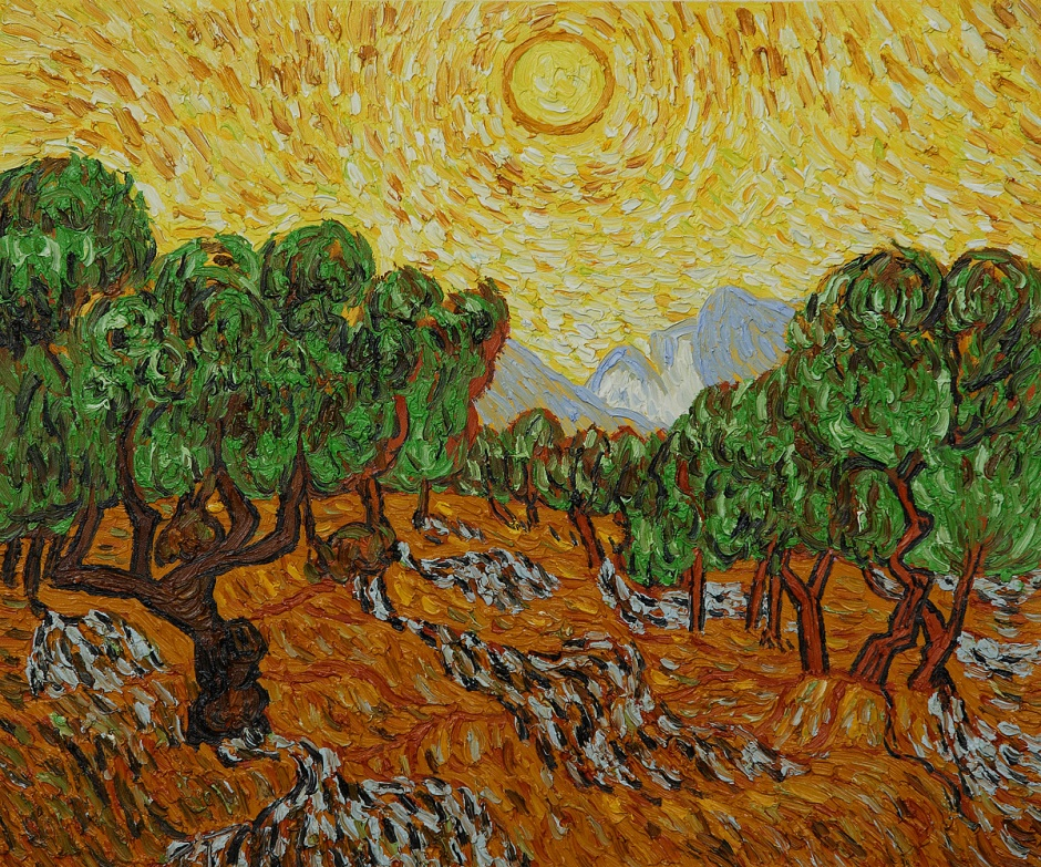 Olive Trees with Yellow Sun and Sky by Vincent Van Gogh