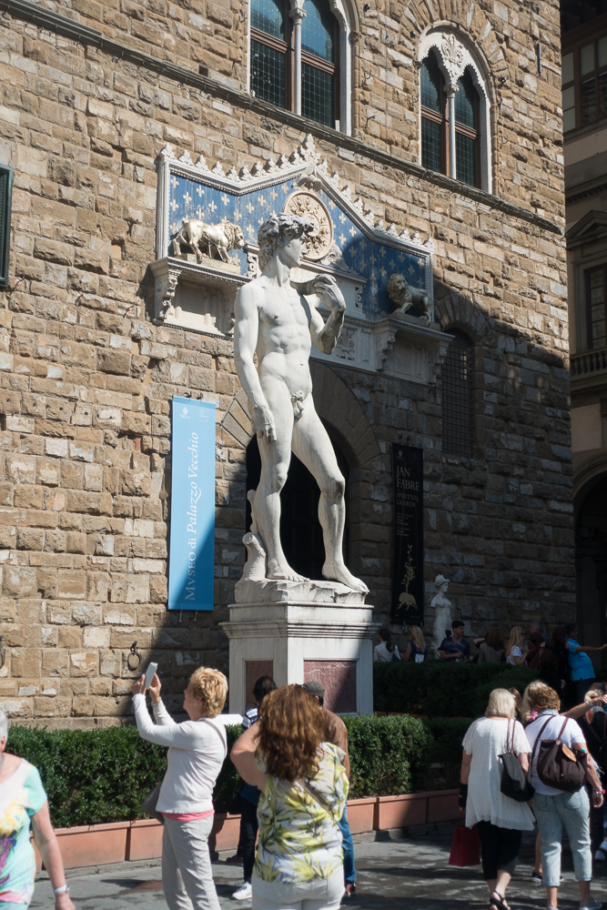 This copy of Michelangelo's David stands outside the Palazzo Vecchio where the original stood until it was moved to the Galleria for protection. Whereas most images of David show him after he has fought Goliath, usually with Goliath's head at his feet, this shows David holding the sling in anticipation of the battle.
