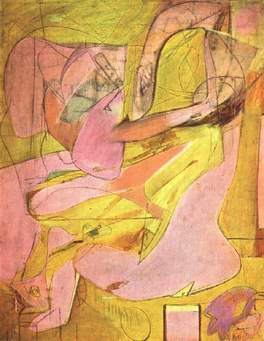 Pink Angels, Willem de Kooning, c.1945. Although regarded as an abstract expressionist, de Kooning retained a strong figurative core to his work. His images of women are frequently unsettling and have often led to charges of a deep-rooted misogyny.