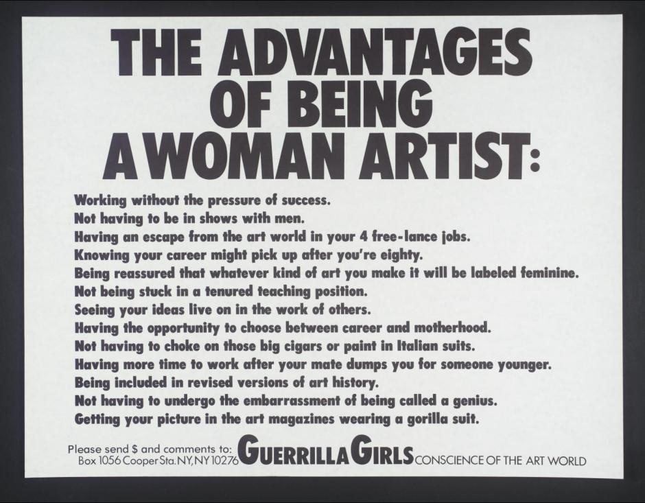 The Advantages Of Being A Woman Artist 1988 by Guerrilla Girls