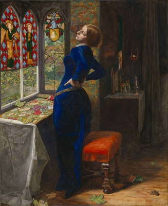 Mariana in the Moated Grange (1850) by John Everett Millais (1829-96). Taken from a Tennyson poem, this picture takes a lot from the Arnolfini portrait including the detailed naturalistic style, the use of coloured glass in the window and the single, evocative candle. But you have to say that Millais has added a uniquely Victorian sense of faux melodrama that looks distinctly artificial in a supposedly naturalistic painting.