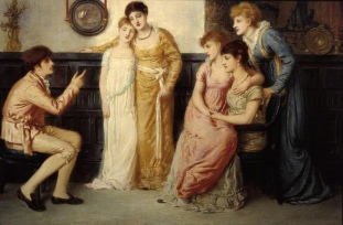 A Youth relating Tales to Ladies (1870) by Simeon Solomon (1840-1905). Solomon was not a Pre-Raphaelite but rather a member of the subsequent Aesthetic movement. This picture is frankly rather twee for my tastes, but not the use of the convex mirror, straight out of the Arnolfini Portrait.