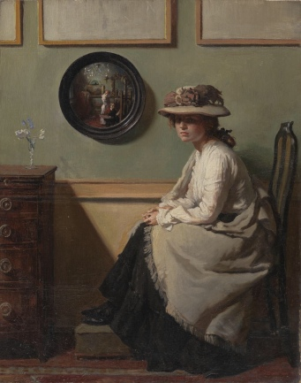 The Mirror (1900) by William Orpen (1878-1931). Aside from the Arnolfini Portrait itself, this was perhaps my favourite picture in the exhibition. Whilst the mirror clearly pays homage to the Arnolfini, the highly mannered, medieval-inspired drama of the Pre-Raphaelites has been dropped and we are left with a charming domestic portrait that seems to me much trier to the spirit of Arnolfini than some of the tortured posturing in between.